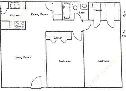 912 sq. ft. E floor plan