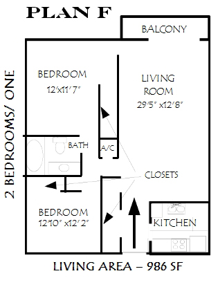 986 sq. ft. Glenview floor plan