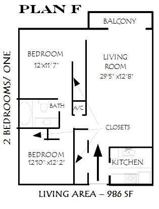 986 sq. ft. Glenview floor plan