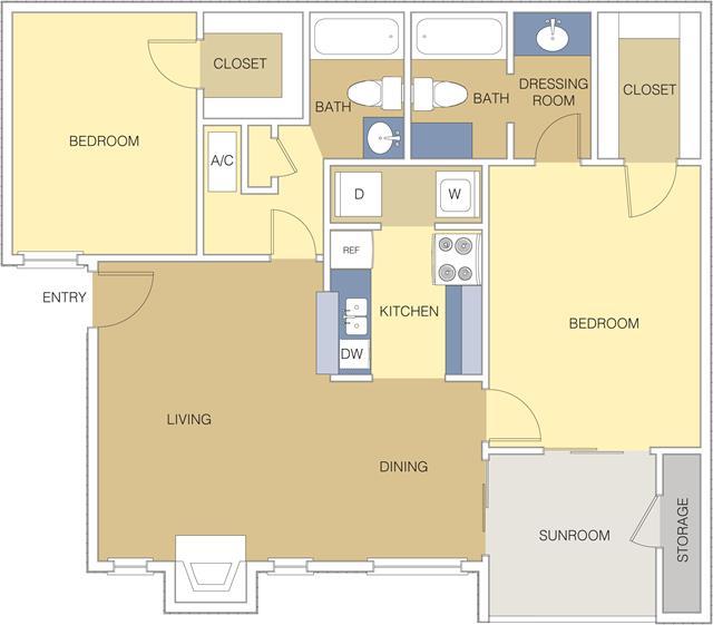 1,006 sq. ft. B2 floor plan