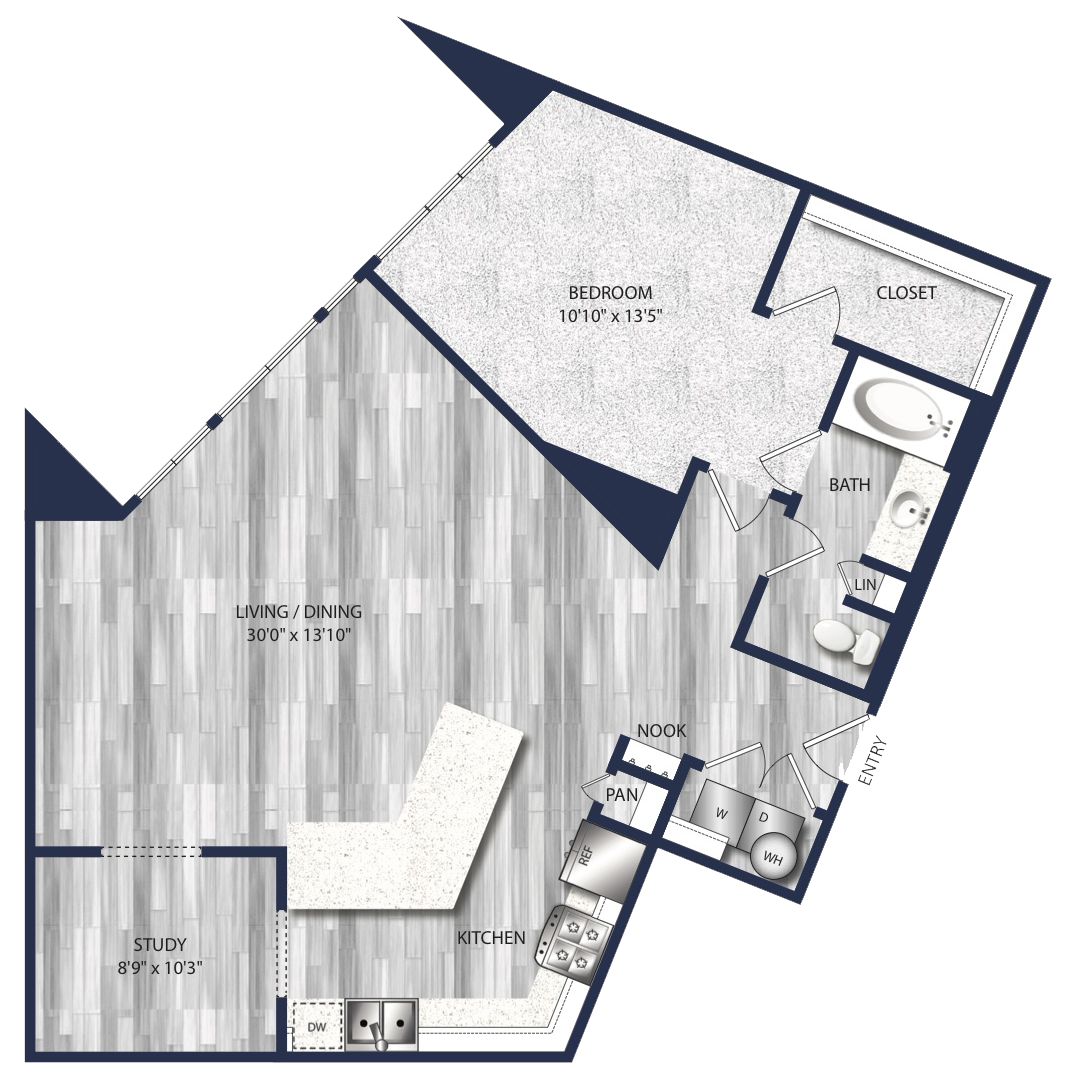 1,115 sq. ft. A9 floor plan