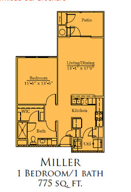 775 sq. ft. Miller/60% floor plan