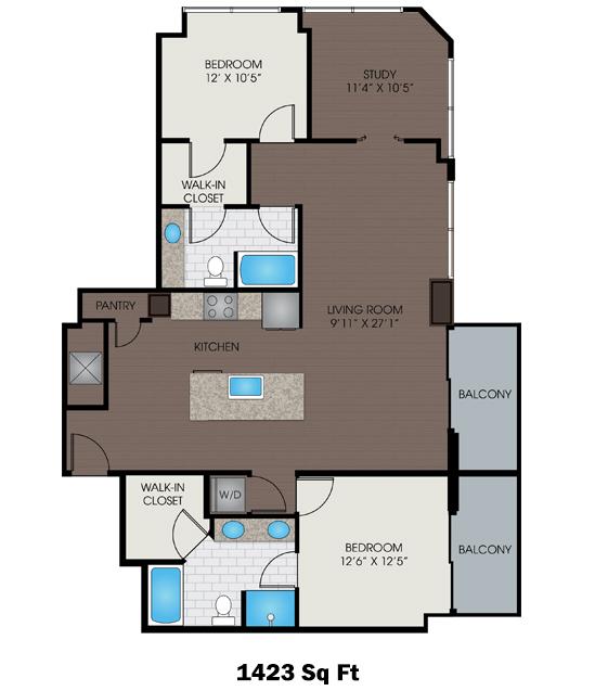 1,423 sq. ft. T floor plan