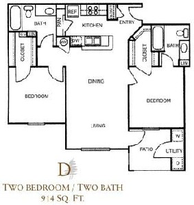 914 sq. ft. D/60% floor plan