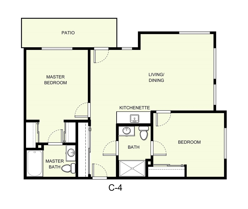 975 sq. ft. C4 floor plan
