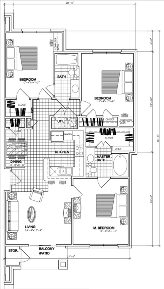 1,297 sq. ft. C1 floor plan