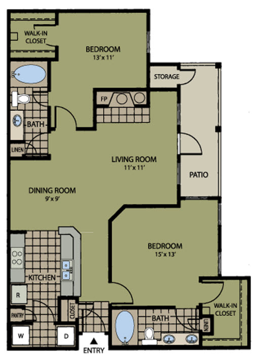 1,106 sq. ft. Pebble Beach floor plan
