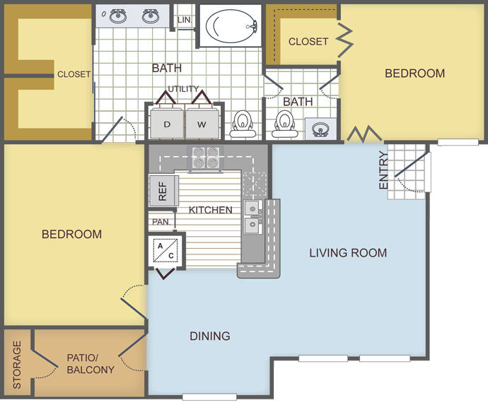 979 sq. ft. EVERGREEN floor plan