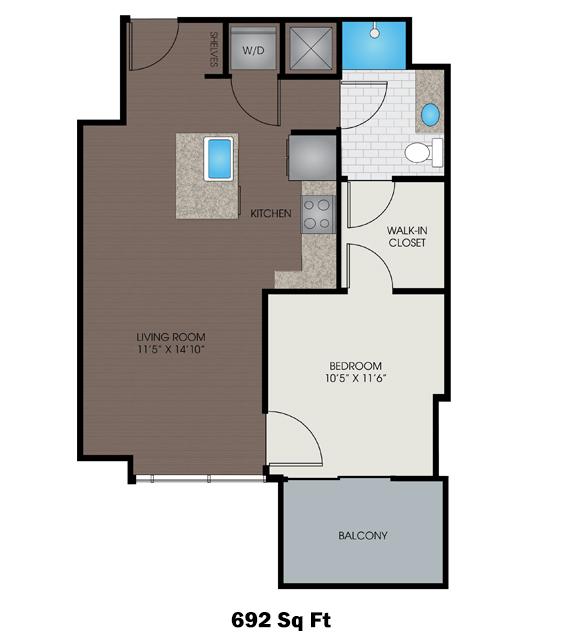 692 sq. ft. D2 floor plan