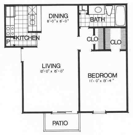 648 sq. ft. II A2 floor plan