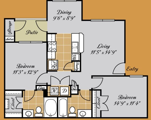 911 sq. ft. FIORENZA floor plan