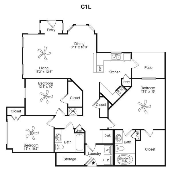 1,447 sq. ft. C2K floor plan