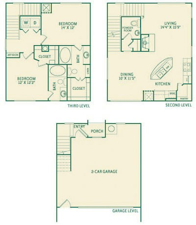 1,464 sq. ft. B1a floor plan