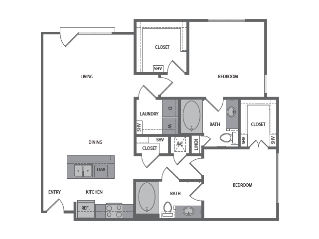 1,153 sq. ft. F floor plan