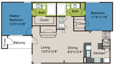 1,063 sq. ft. B1 floor plan