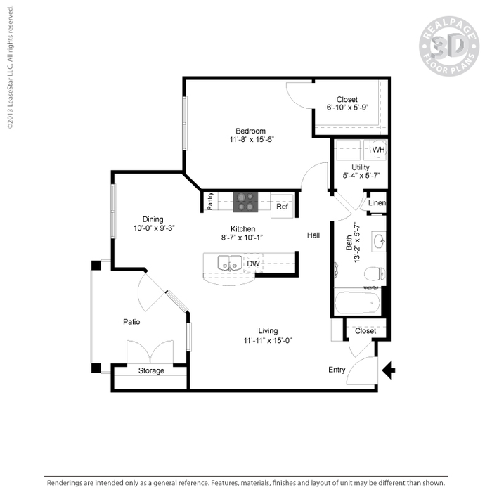 826 sq. ft. A3 HC floor plan