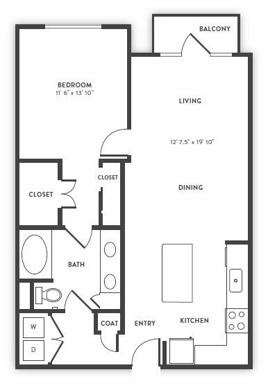 878 sq. ft. A3 floor plan
