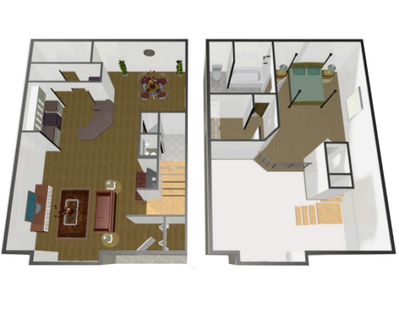 948 sq. ft. A3 floor plan