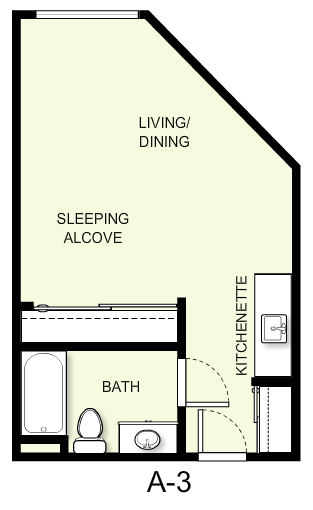 402 sq. ft. A3 floor plan
