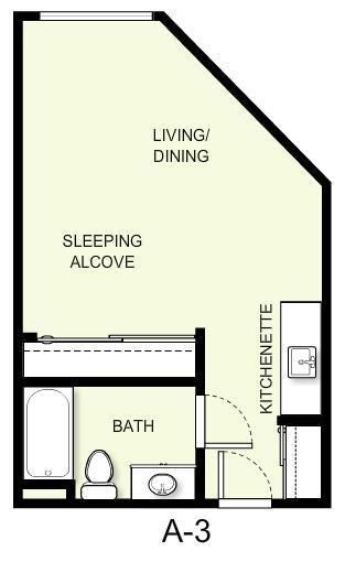 402 sq. ft. A3 floor plan