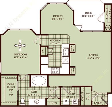 876 sq. ft. A2 floor plan