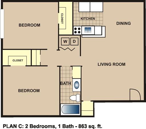 863 sq. ft. C floor plan