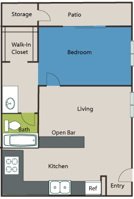 523 sq. ft. A2 floor plan