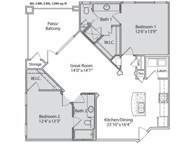 1,125 sq. ft. B4 floor plan