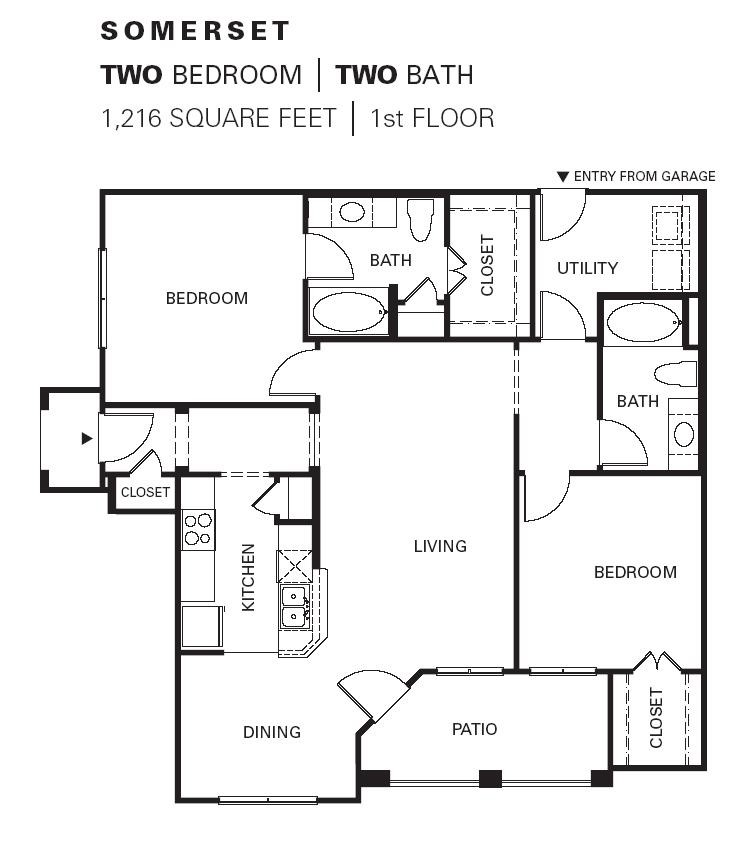 1,216 sq. ft. SOMERSET floor plan