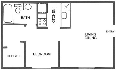 446 sq. ft. A2 floor plan