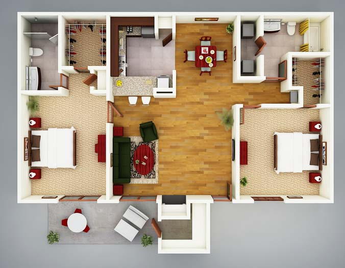1,009 sq. ft. B2 Figi floor plan