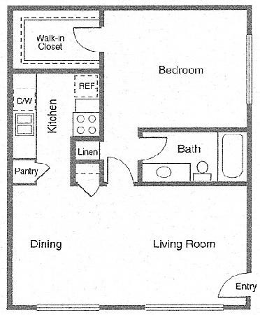 700 sq. ft. OXFORD floor plan