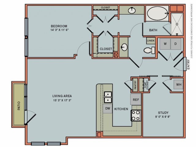 1,067 sq. ft. 2AS3 floor plan