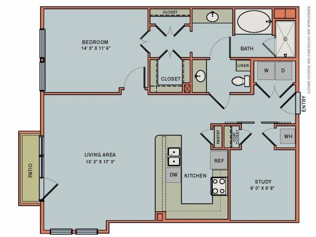 1,067 sq. ft. 2AS3 floor plan