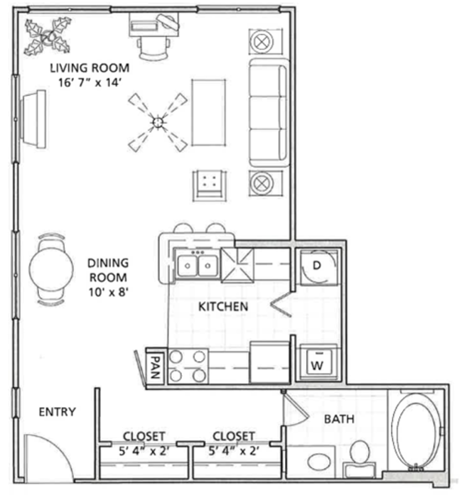 592 sq. ft. C1 floor plan