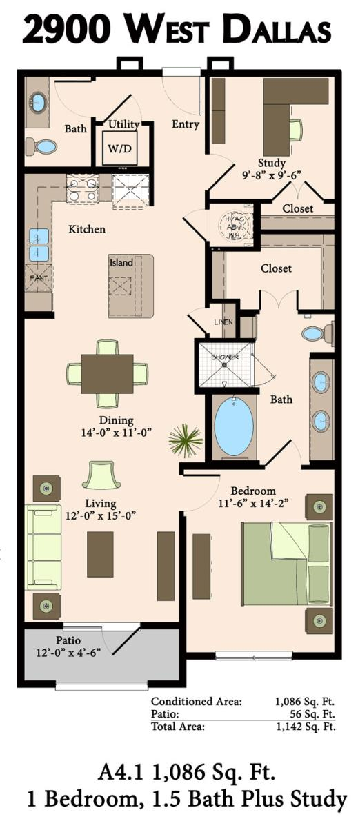 1,086 sq. ft. A4.1, A4.2 floor plan