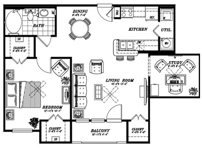 865 sq. ft. A3A floor plan