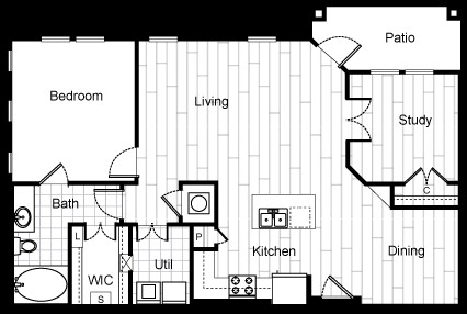1,010 sq. ft. A6 floor plan
