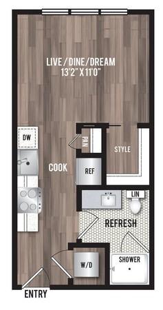 390 sq. ft. M1 floor plan
