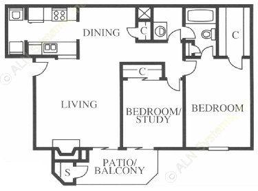936 sq. ft. Egret floor plan