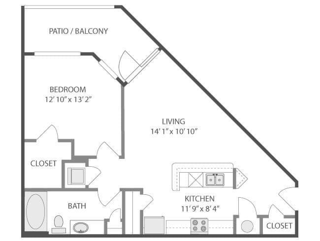 714 sq. ft. Pisa/A3 floor plan
