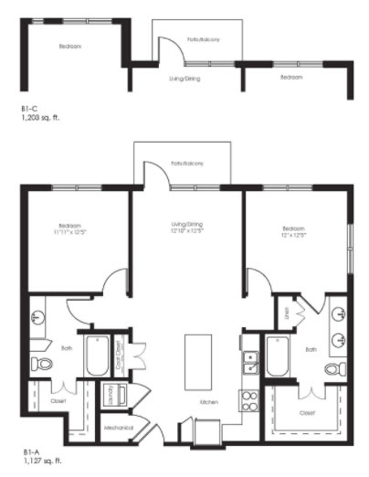 1,203 sq. ft. B1C floor plan