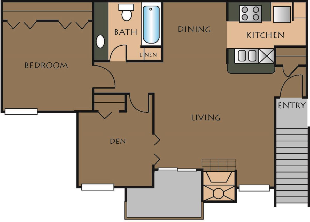 765 sq. ft. A-3 floor plan