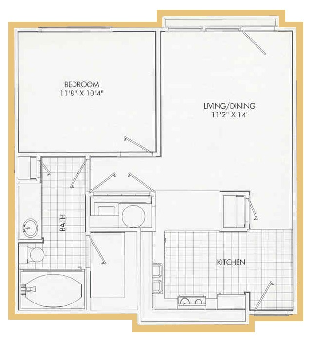 610 sq. ft. A1 floor plan