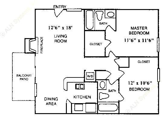832 sq. ft. B-3 floor plan