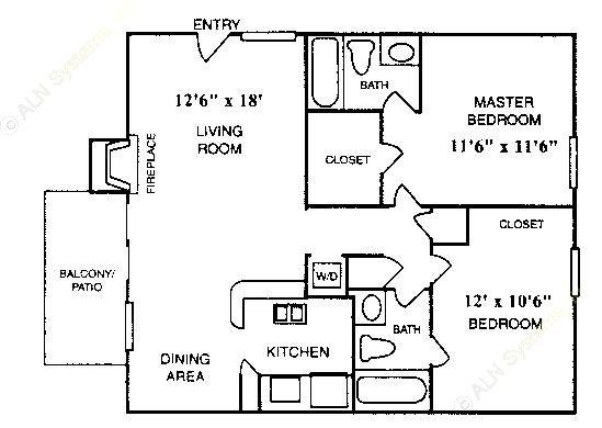 832 sq. ft. B-3 floor plan