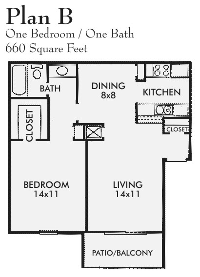 660 sq. ft. B floor plan