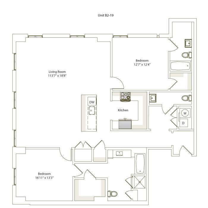 1,546 sq. ft. B2-19 floor plan