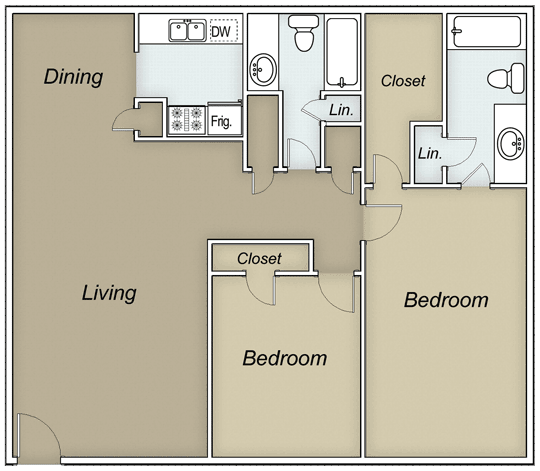 1,040 sq. ft. CARRINGTON floor plan