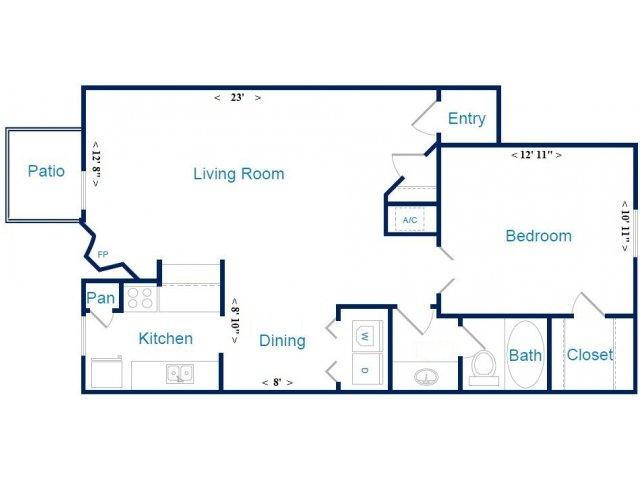 816 sq. ft. D floor plan